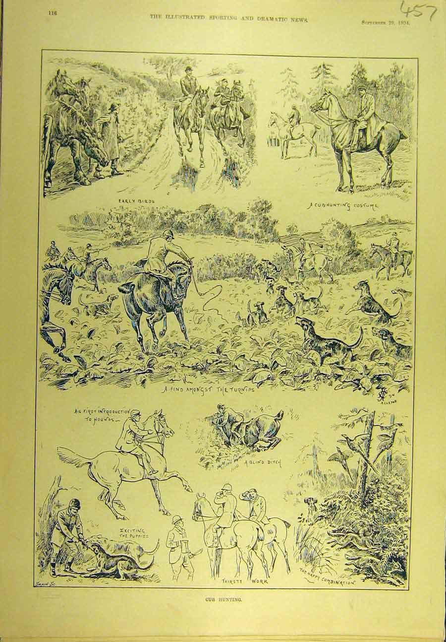Print 1894 Cub-Hunting Hounds Turnips Sketches Hunters 578721 Old Original