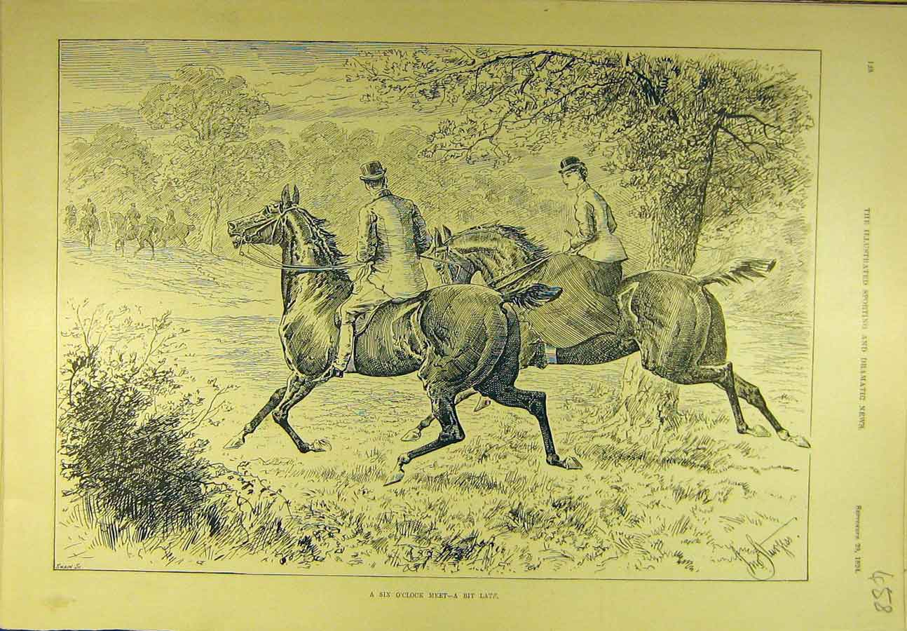Print 1894 Six-O'Clock Meet Hunting Hunters Sport 588721 Old Original