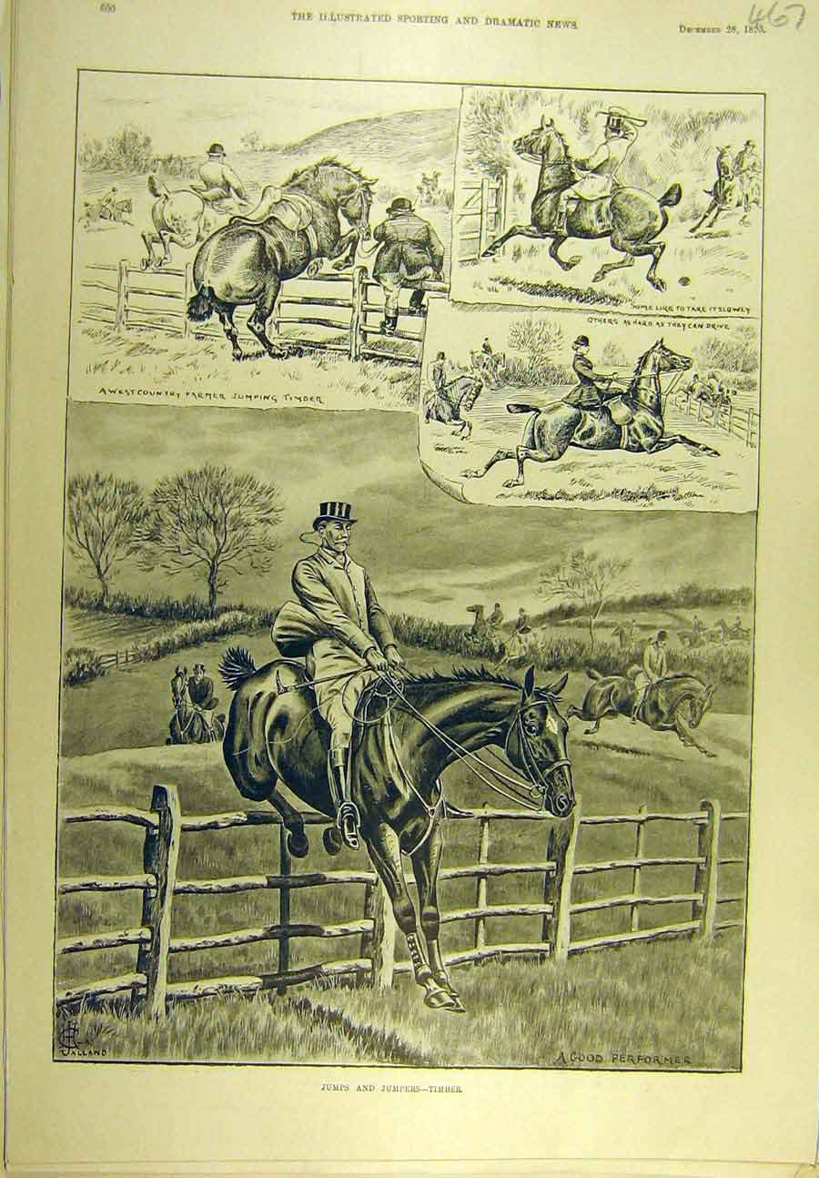 Print 1895 Timber Jumps Jumpers Horses Hunters Hunting 678721 Old Original