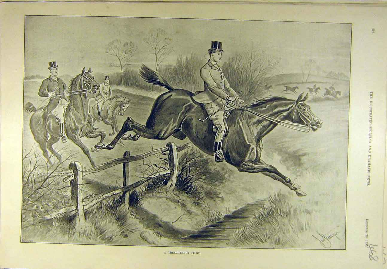 Print 1895 Treacherous Pilot Hunter Rider Horse Hunting 688721 Old Original