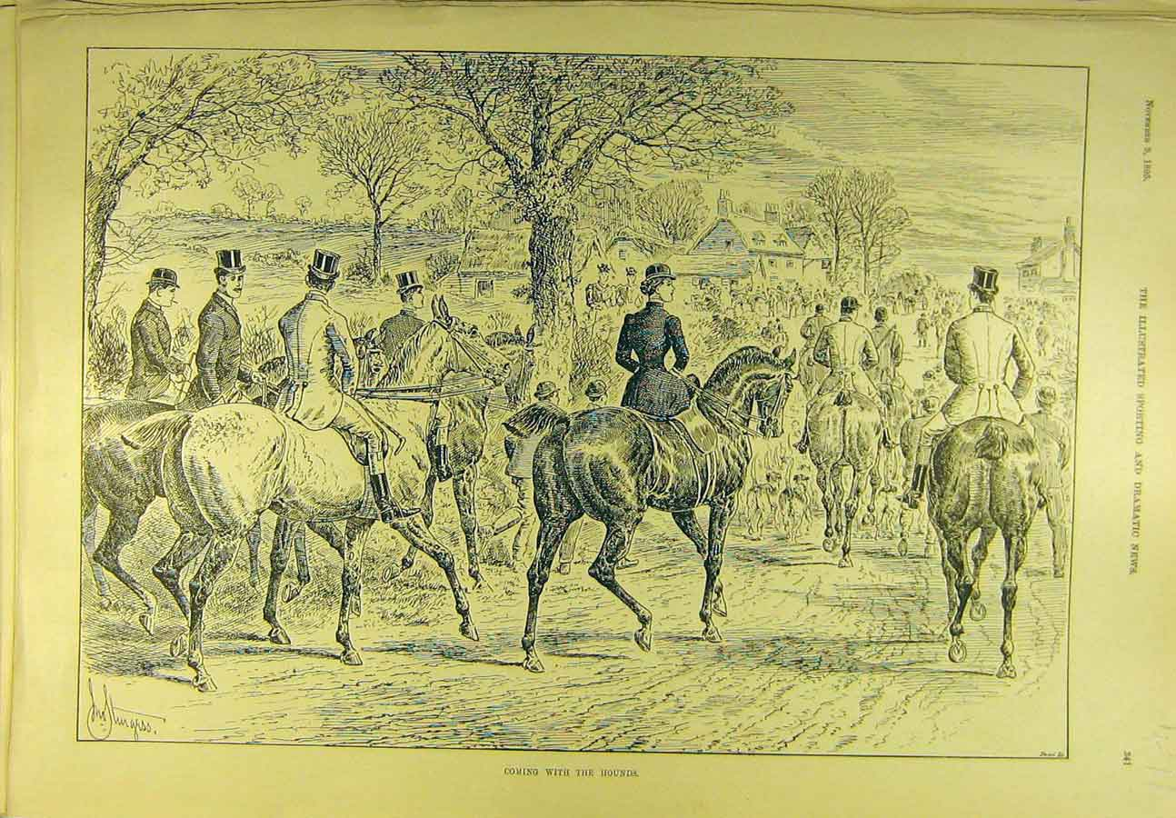 Print 1895 Hounds Hunting Meet Horses Riders Hunters 718721 Old Original