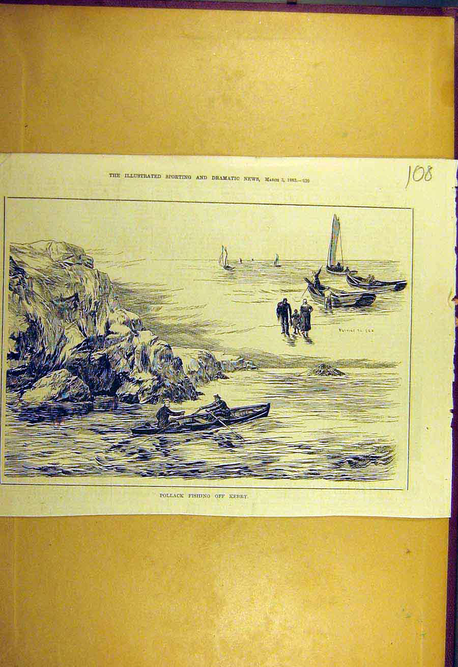 Print 1883 Pollack Fishing Kerry Ireland Sport 088731 Old Original