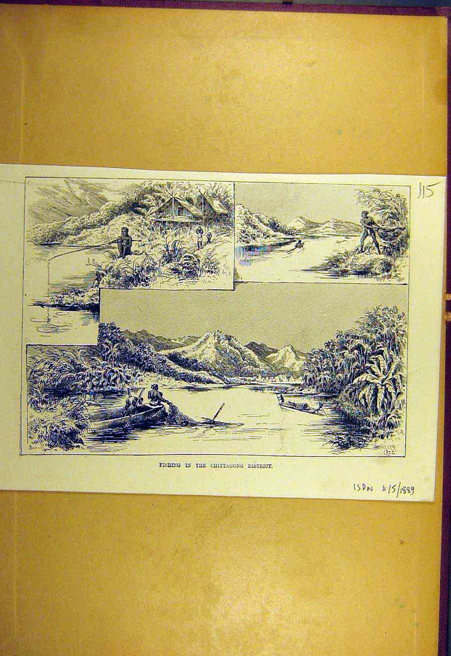 Print 1889 Fishing Chittagong District Sport 158731 Old Original