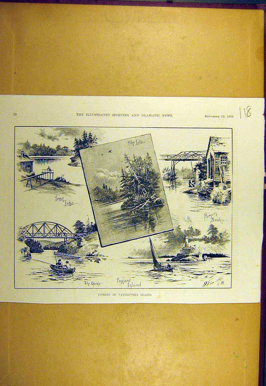 Print 1891 Fishing Vancouver'S Island Pike Parsons 188731 Old Original