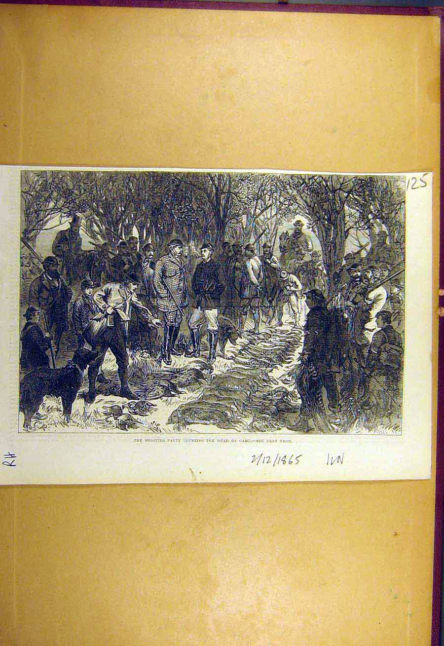 Print 1865 Shooting Party Game Head-Count Kill Sport 258731 Old Original