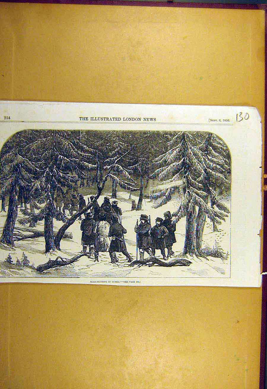 Print 1856 Bear-Hunting Russia Animal Hunt Sport 308731 Old Original