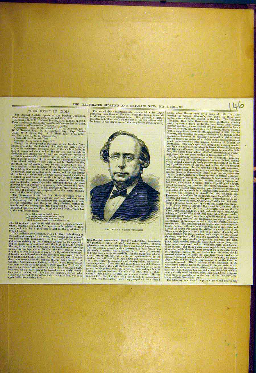 [Antique Print 1880 Portrait George-Grossmith Sporting Dramatic News 468731 ]