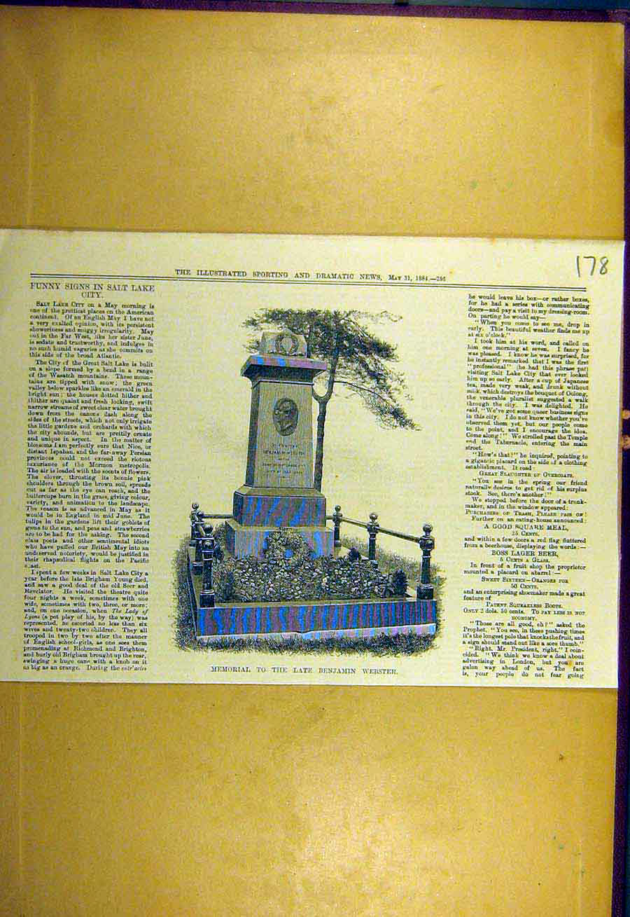 Print 1884 Memorial Benjamin-Webster 788731 Old Original