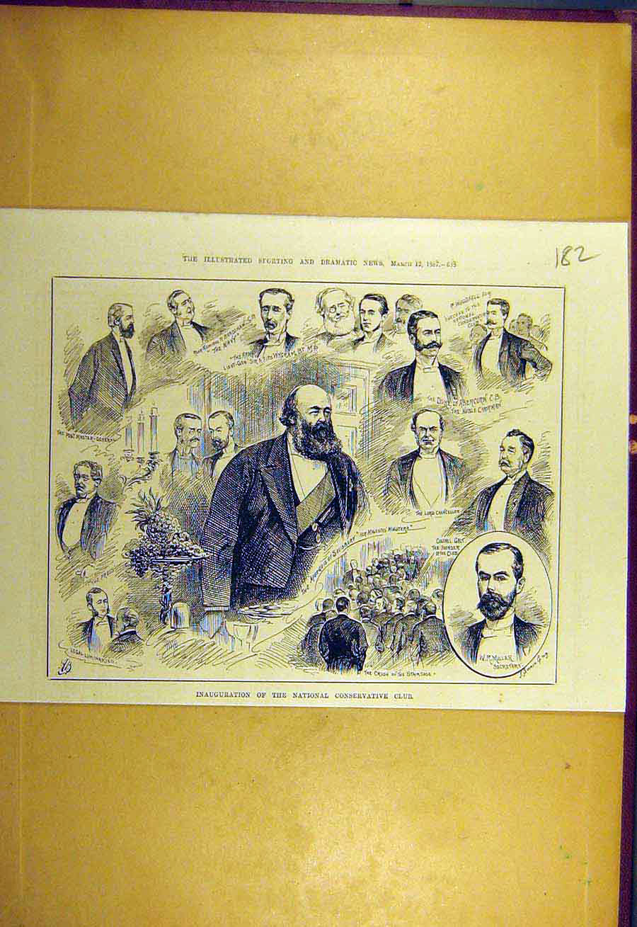 Print 1887 Inauguration National Conservative Club Portrait 828731 Old Original