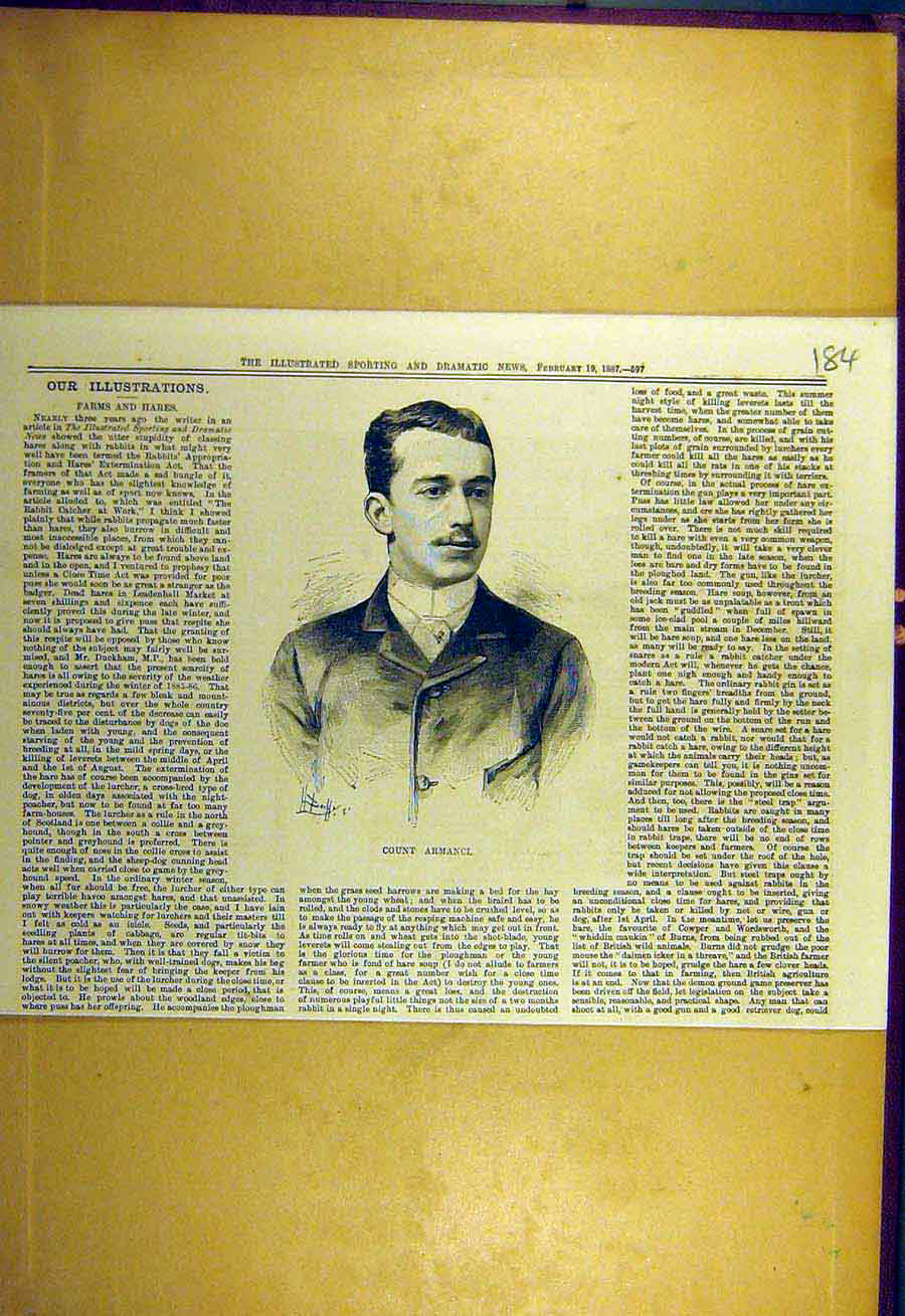 [Old Antique Print 1887 Portrait Count-Armanci Sporting Dramatic News 848731 ]