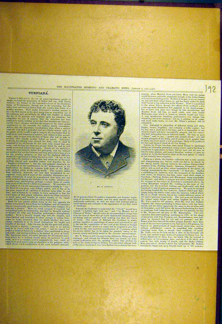 Print 1883 Righton Portrait Sporting Dramatic News 928731 Old Original