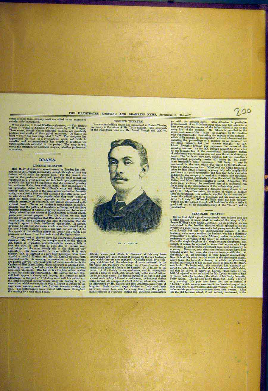 [Old Antique Print 1884 Portrait Newham Sporting Dramatic News 008731 ]