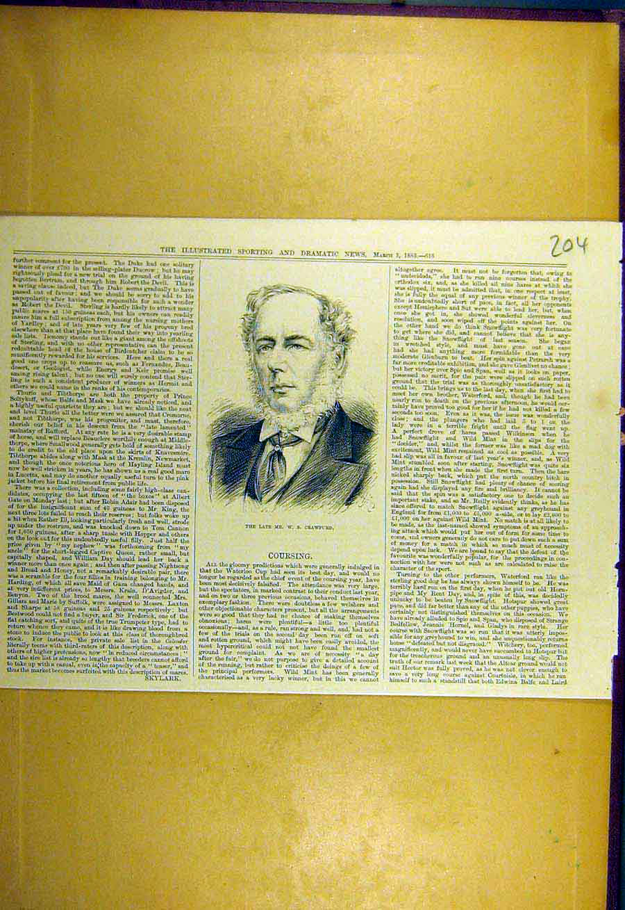[Old Antique Print 1883 Portrait Crawfurd Sporting Dramatic News 048731 ]
