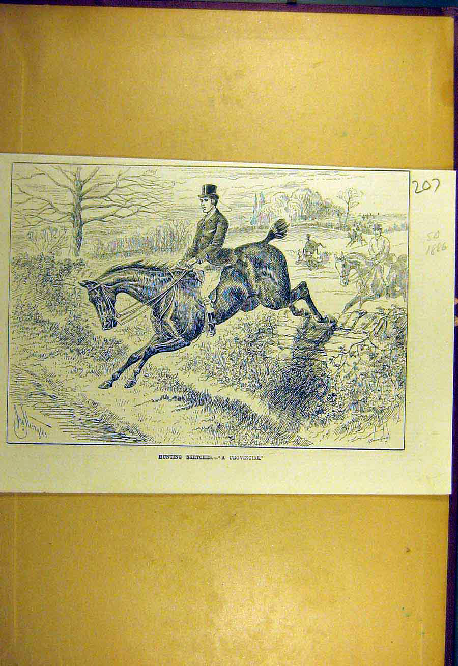 Print 1886 Hunting Sketches Provincial Horse Rider 078731 Old Original