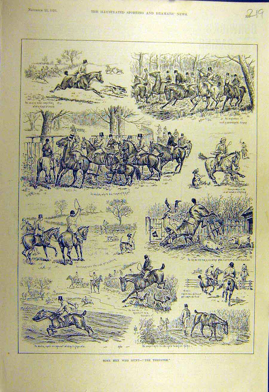 Print 1891 Hunting Thruster Riders Horses Hunt Sketches 198731 Old Original