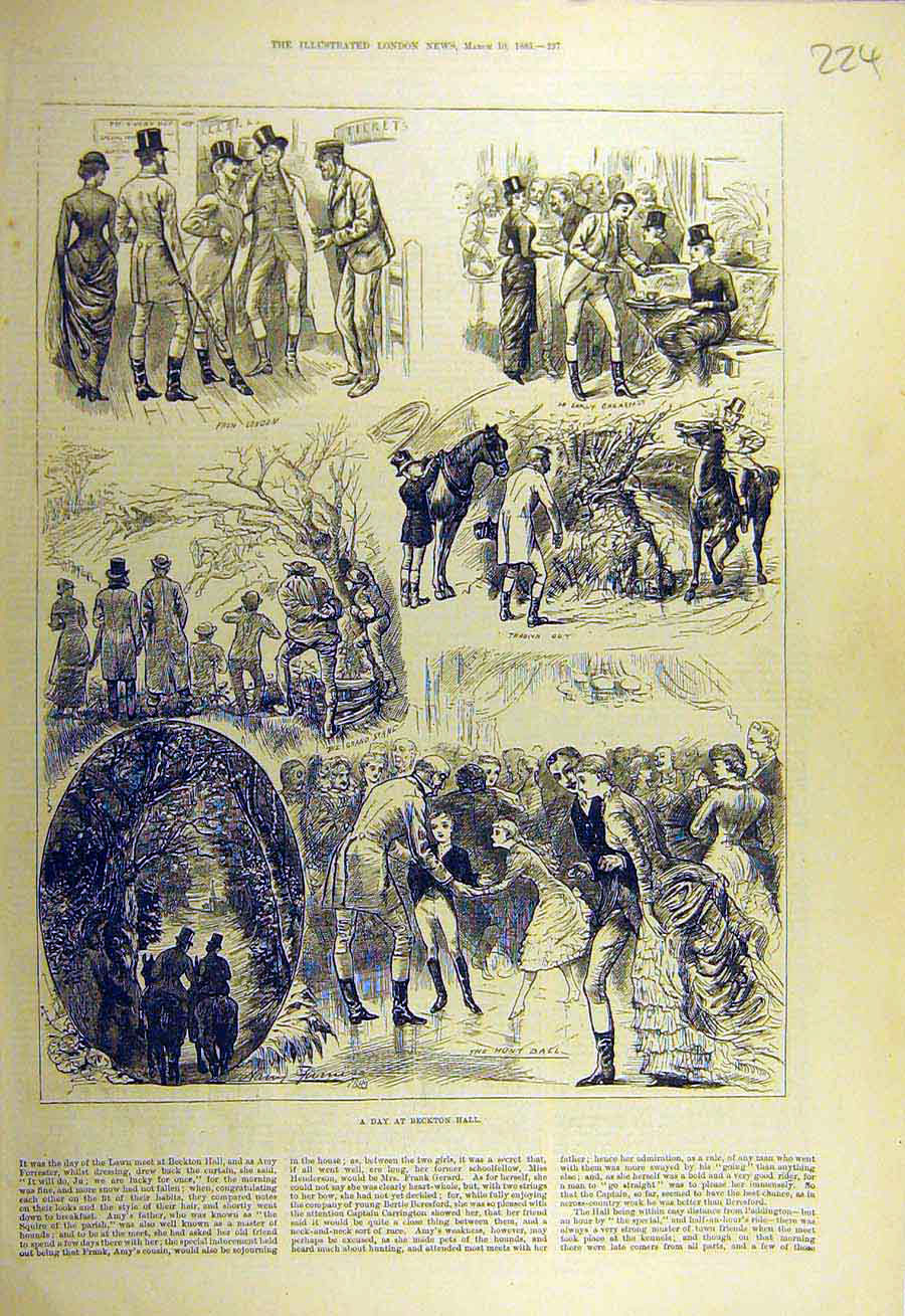 Print 1883 Beckton Hall Hunt Hunting Sport Ball Breakfast 248731 Old Original