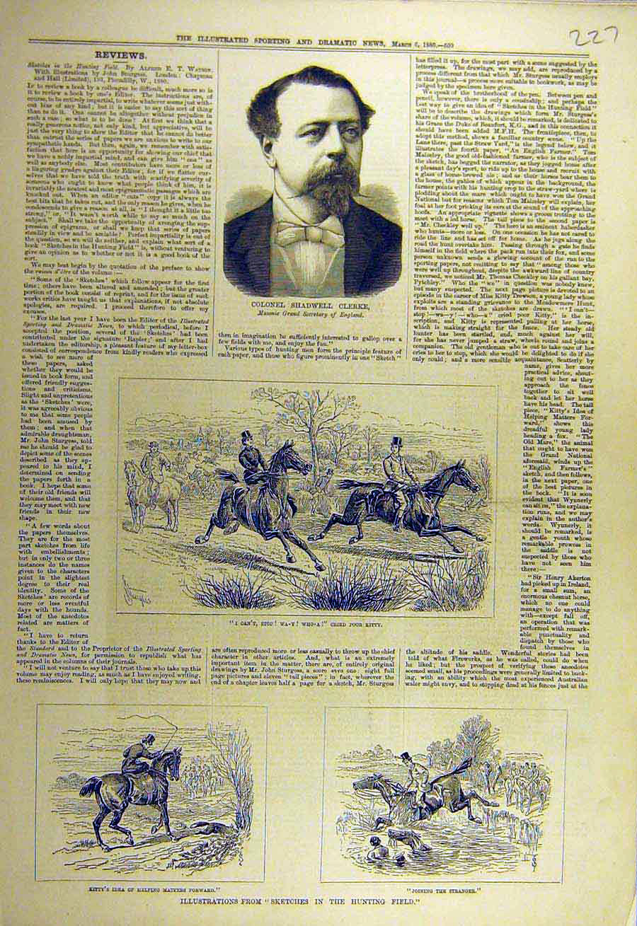 Print 1880 Portrait Clerke Mason Hunting Field Sketches 278731 Old Original