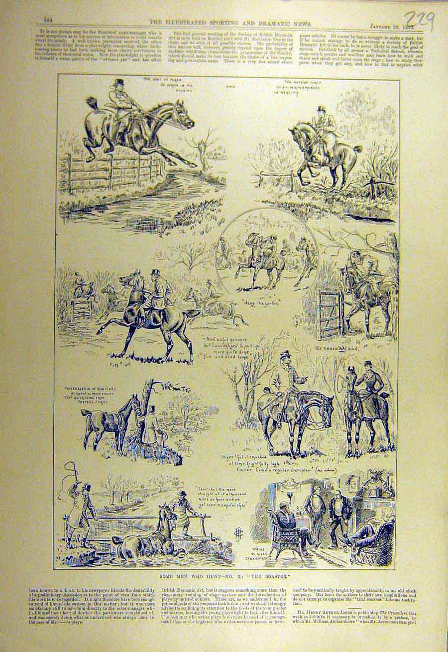Print 1893 Boaster Hunter Hunting Horse Sketches Hunt 298731 Old Original