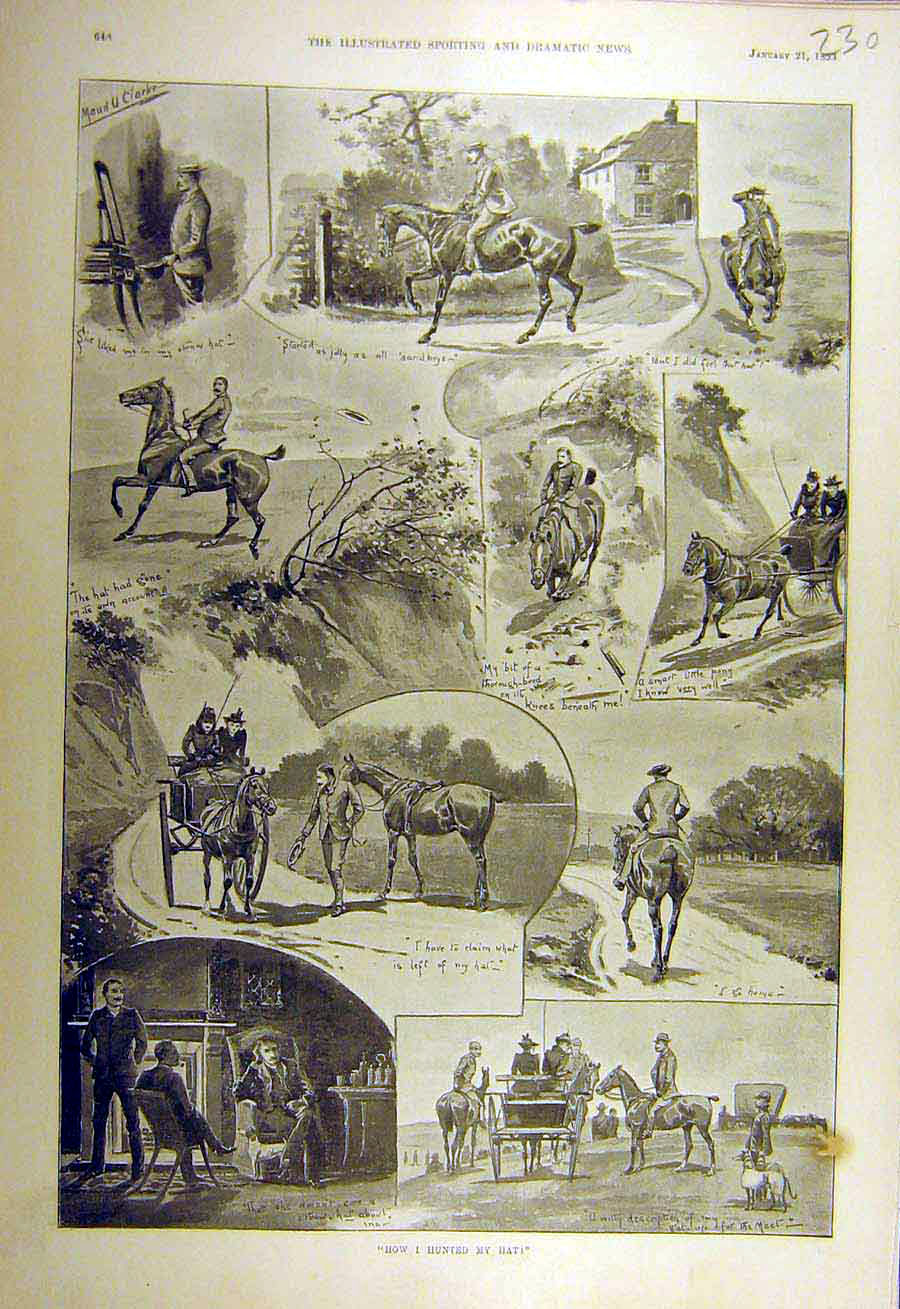 Print 1893 Hunting-Hat Rider Horse Sketches Hunt 308731 Old Original