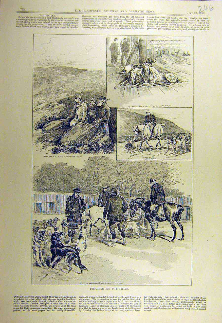 Print 1892 Grouse Shooting Hunt Dog Rwailway Station Sketches 468731 Old Original