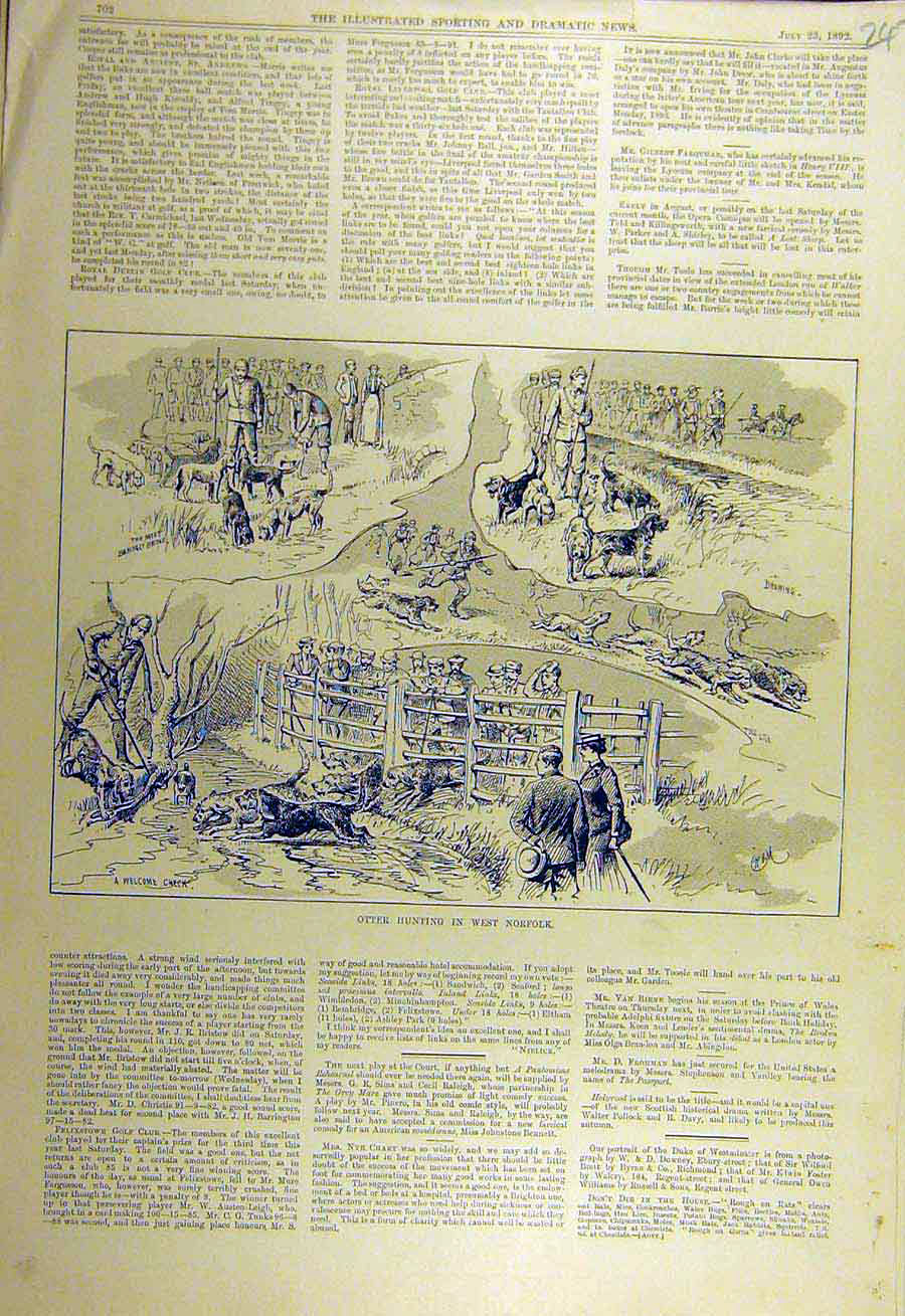 Print 1892 Otter Hunting West-Norfolk Sketches 478731 Old Original