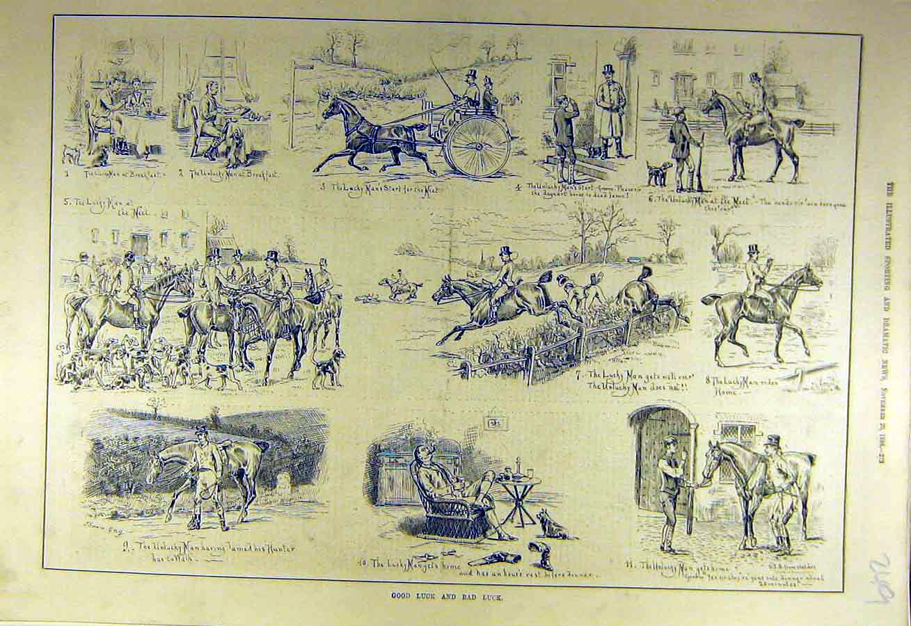 Print 1886 Sketches Good-Bad Luck Sporting Sport 498731 Old Original
