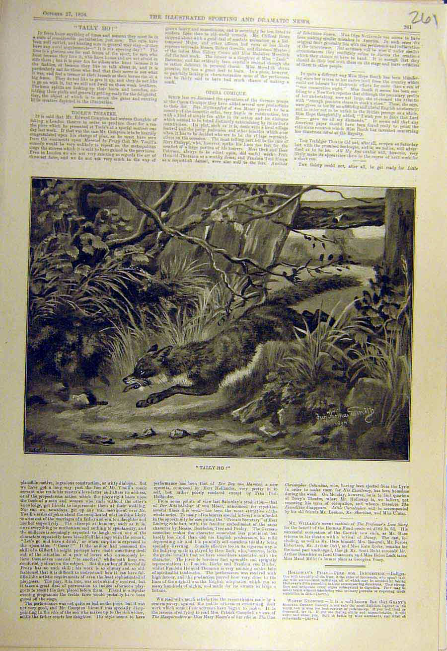 Print 1894 Tally-Ho Smith Fox Hunt Hunting Animal 618731 Old Original