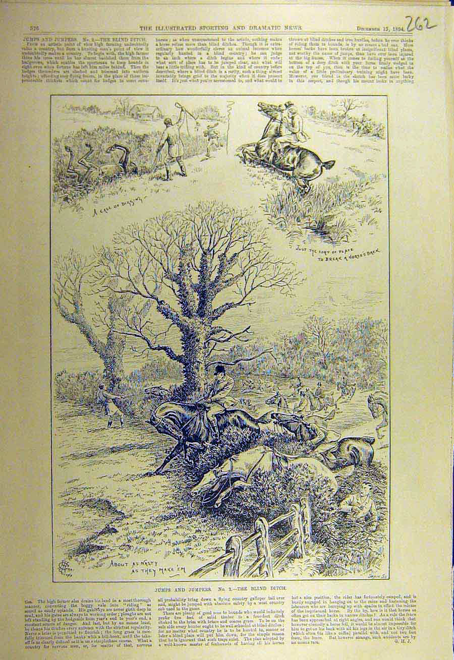 Print 1894 Jumps Jumpers Hunting Hunt Horses Riders Ditch 628731 Old Original