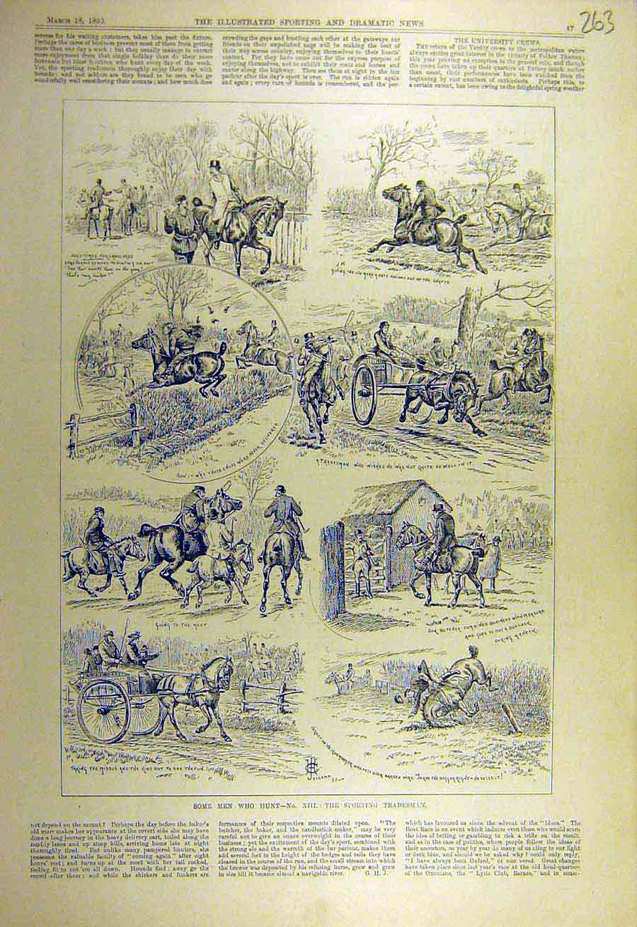 Print 1893 Sporting Tradesman Sketches Hunting Hunt 638731 Old Original