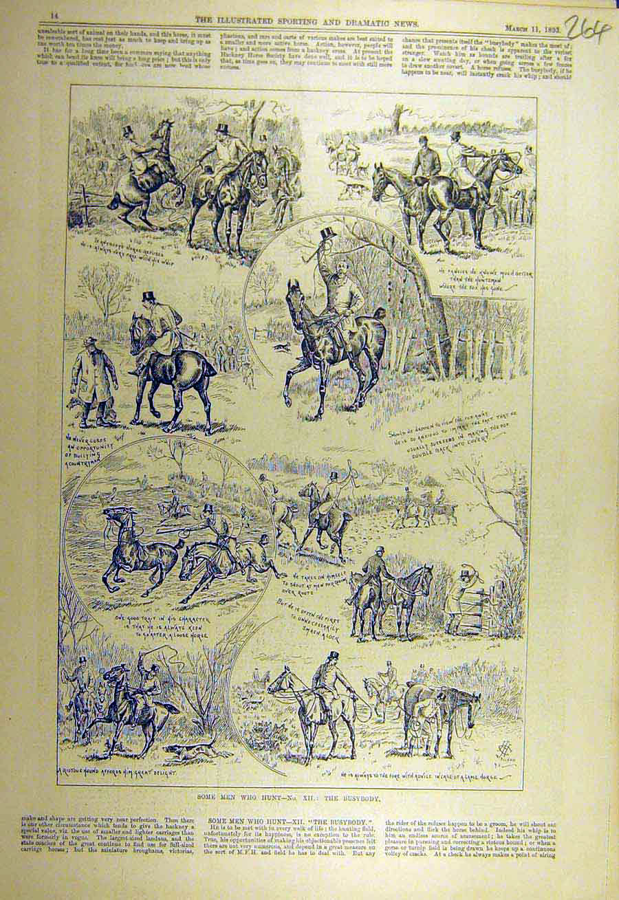 Print 1893 Busy-Body Hunting Hunt Horse Rides Sketches 648731 Old Original