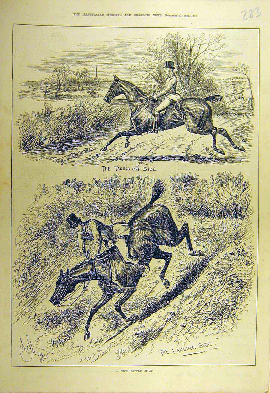 Print 1882 Horse-Jumping Jump Rider Sketch Riding 838731 Old Original