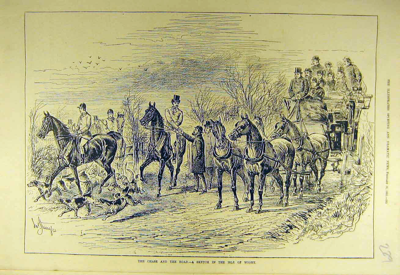 Print 1881 Chase Hunt Sport Sketch Isle Wight Hounds Horses 898731 Old Original