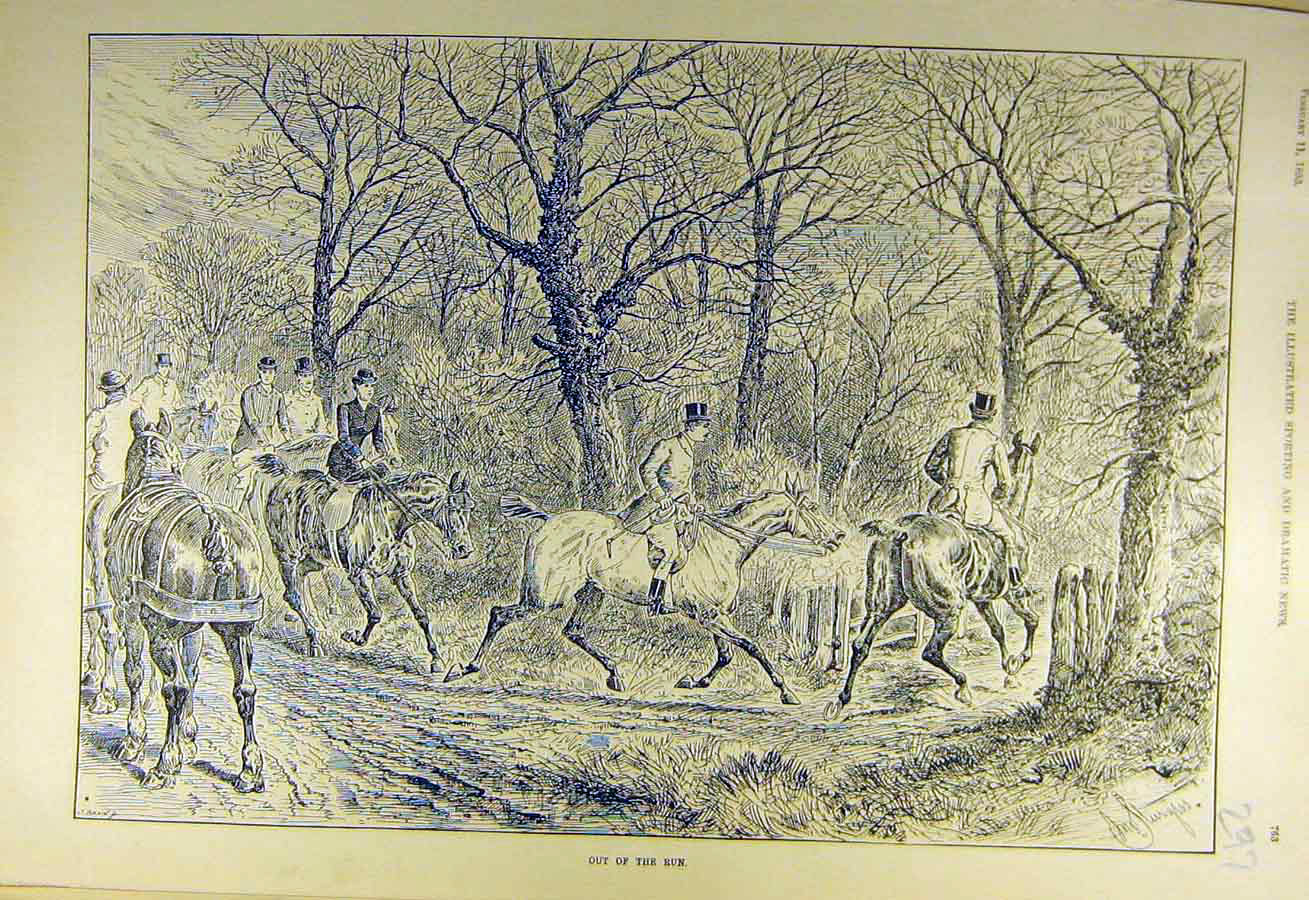 Print 1893 Hunting Out-Of-Run Horses Riders Hunt Forest 978731 Old Original