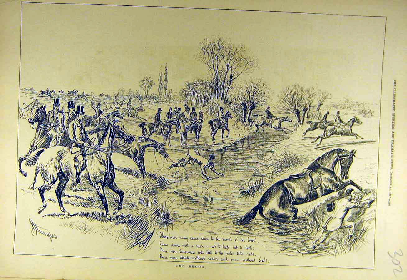 Print 1877 Hunt Ditch River Horse Riders Jump Hunters Sketch 028731 Old Original