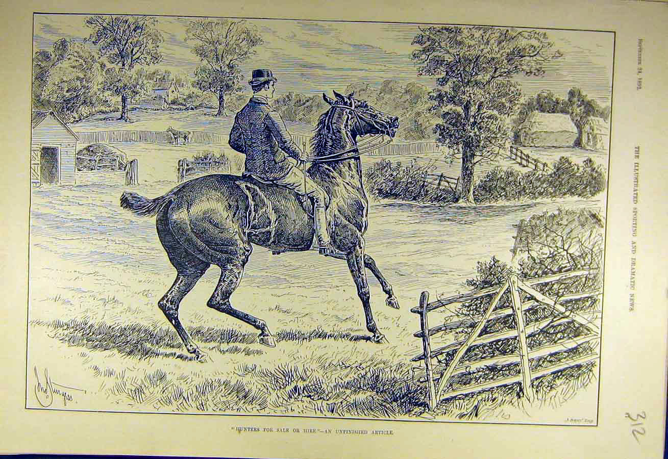 Print 1892 Hunters Sale-Hire Horse Rider Hunt Sketch 128731 Old Original