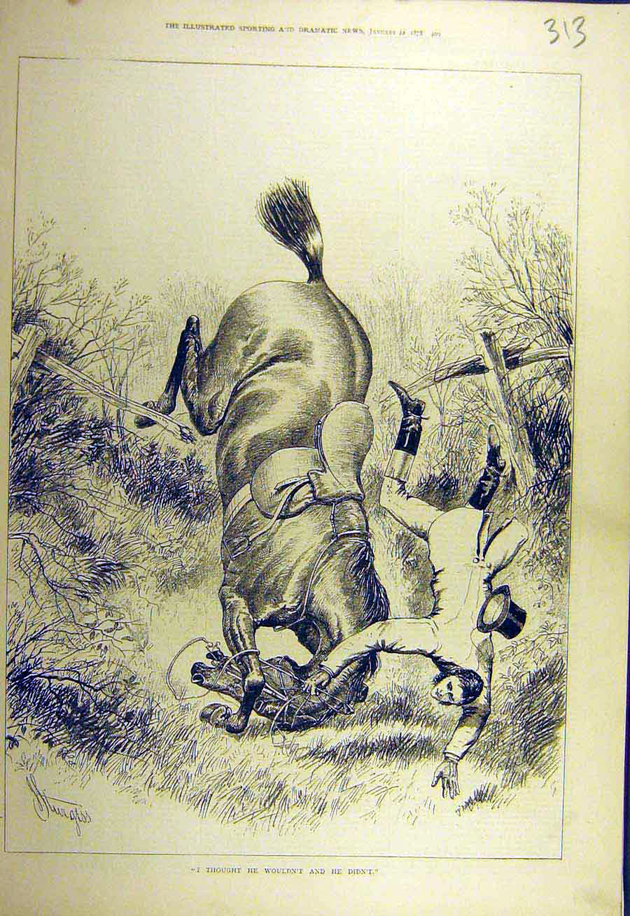 Print 1878 Horse Fall Jump Rider Hunter Fence Sketch 138731 Old Original