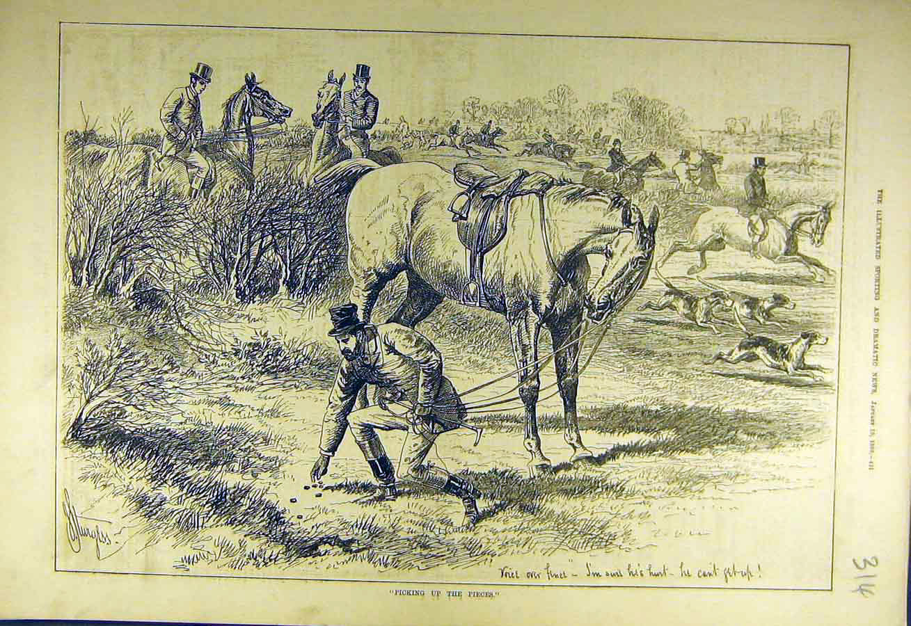 Print 1880 Picking-Up-Pieces Hunters Hunt Hounds Horse Rider 148731 Old Original