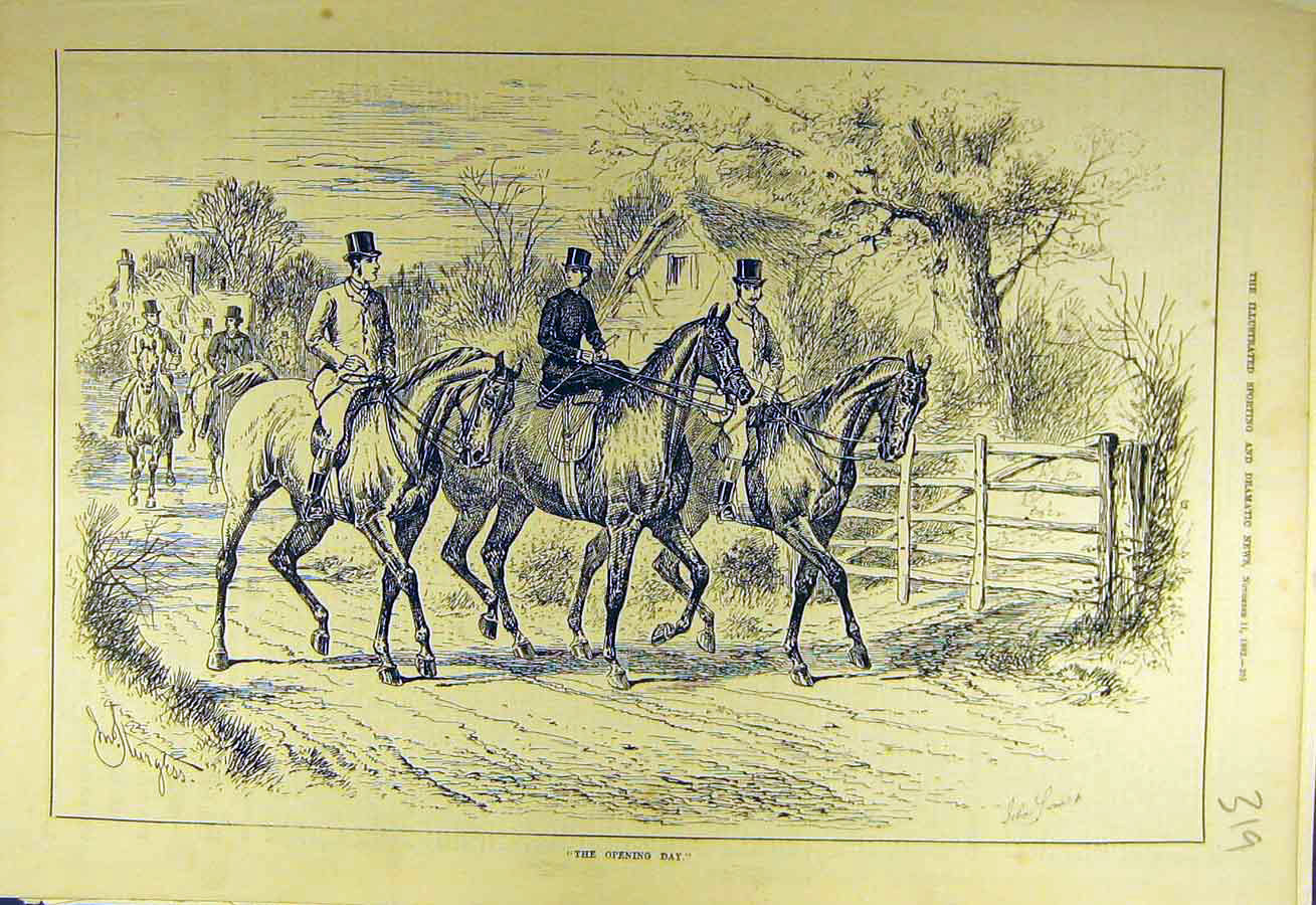 Print 1882 Hunters Opening-Day Hunt Riders Horses Sketch 198731 Old Original
