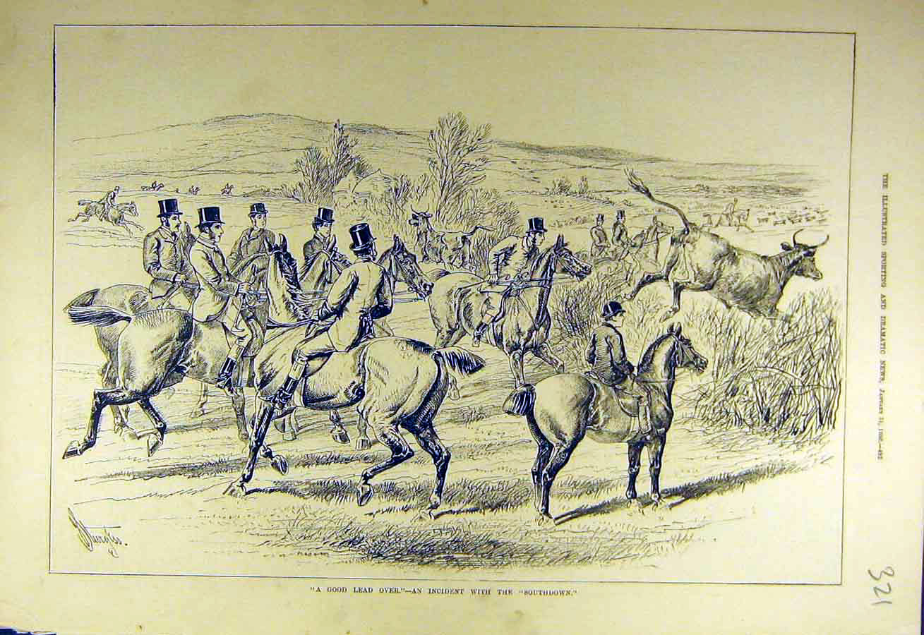 Print 1880 Cow Hunt Fence Jump Southdown Hunters 218731 Old Original
