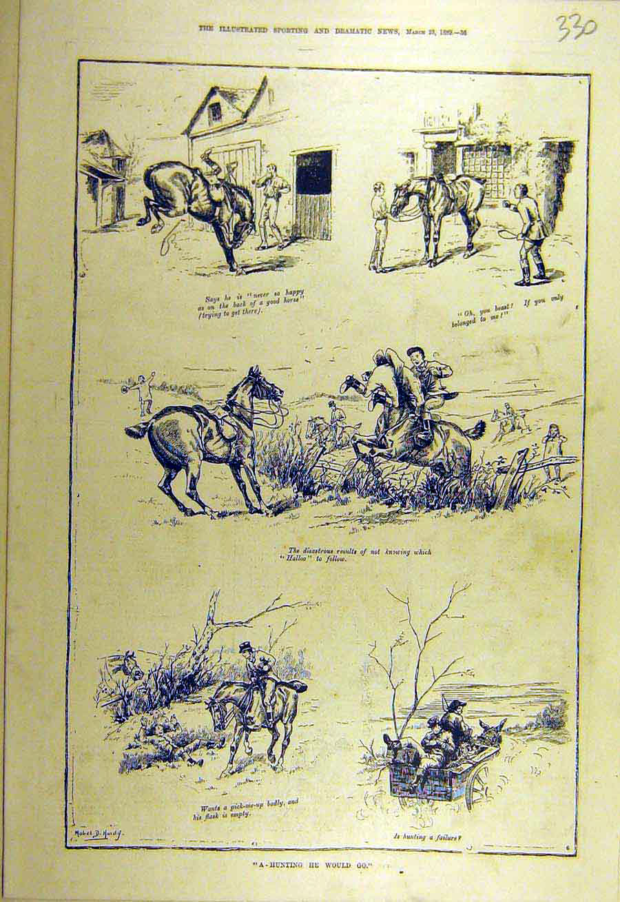 Print 1889 Hunting Hunter Stables Hardy Sketches Rider 308731 Old Original
