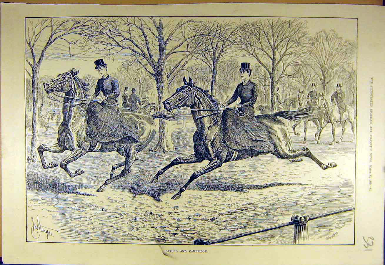 Print 1889 Oxford Cambridge Riders Horse-Race Women Ladies 318731 Old Original