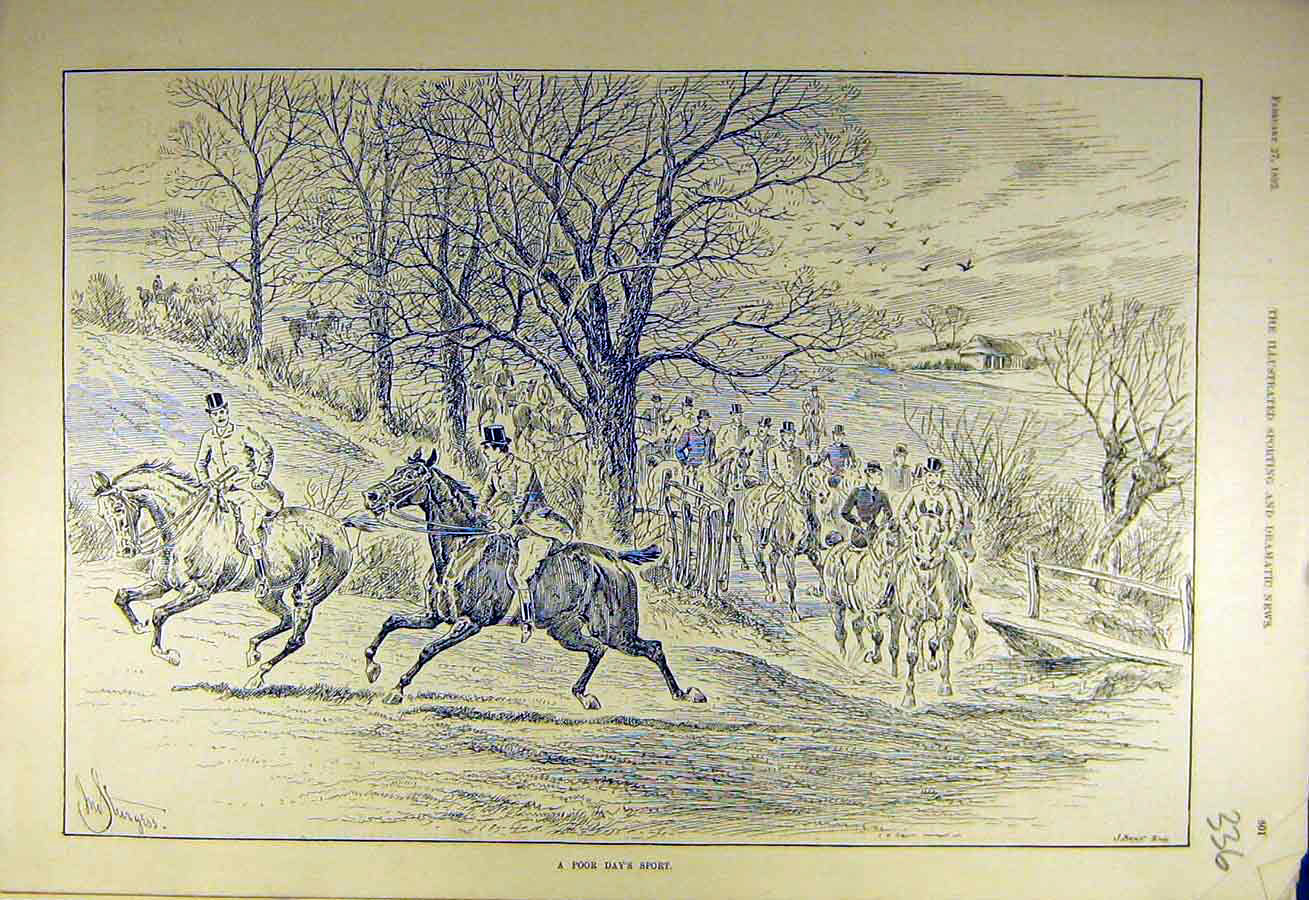 Print 1892 Sport Hunters Hunting Riders Meet Sketch 368731 Old Original