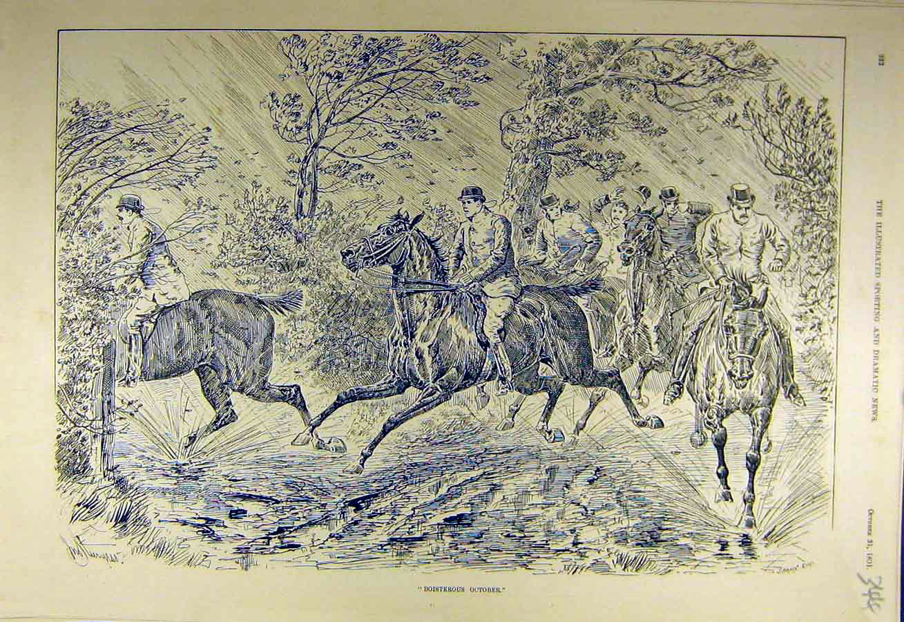 Print 1891 Boisterous October Wind Hunters Hunt Riders 448731 Old Original