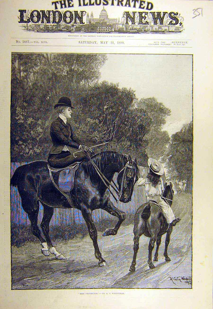 Print 1890 Protector Woodville Riders Hunter Cattle Road 518731 Old Original