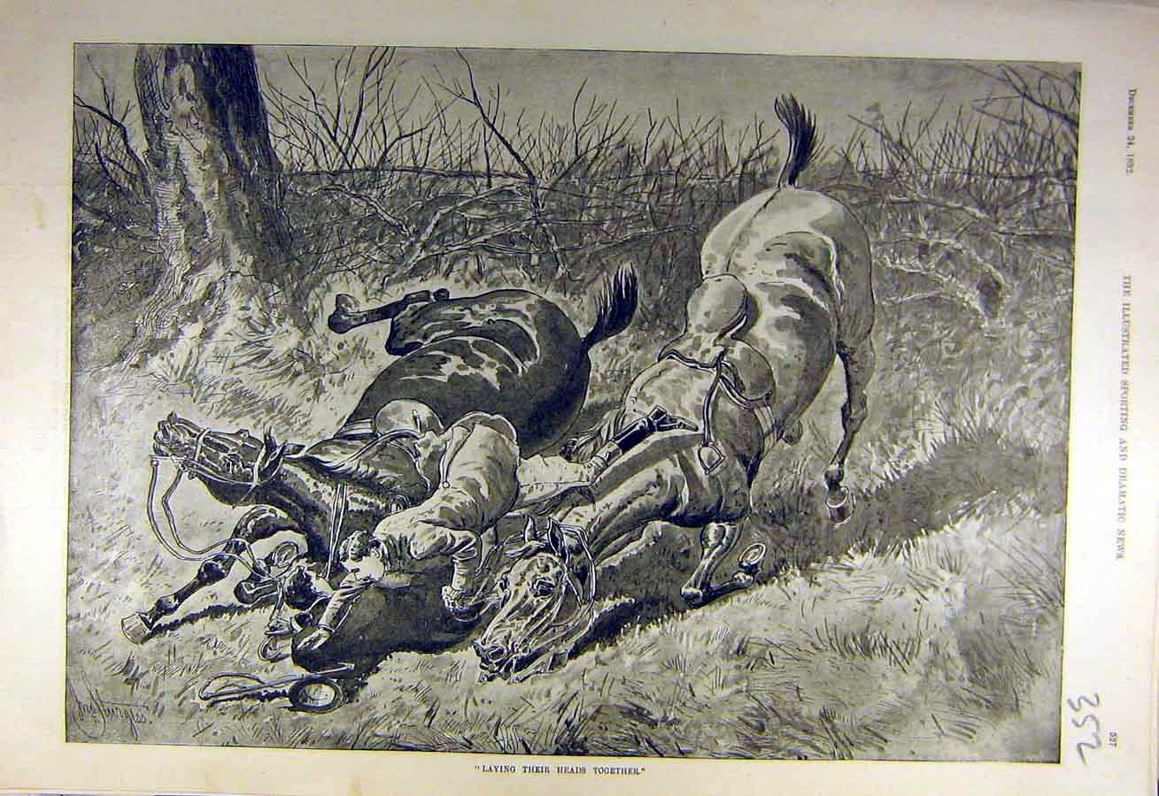 Print 1892 Heads-Together Hunters Riders Horses Fall Sketch 528731 Old Original