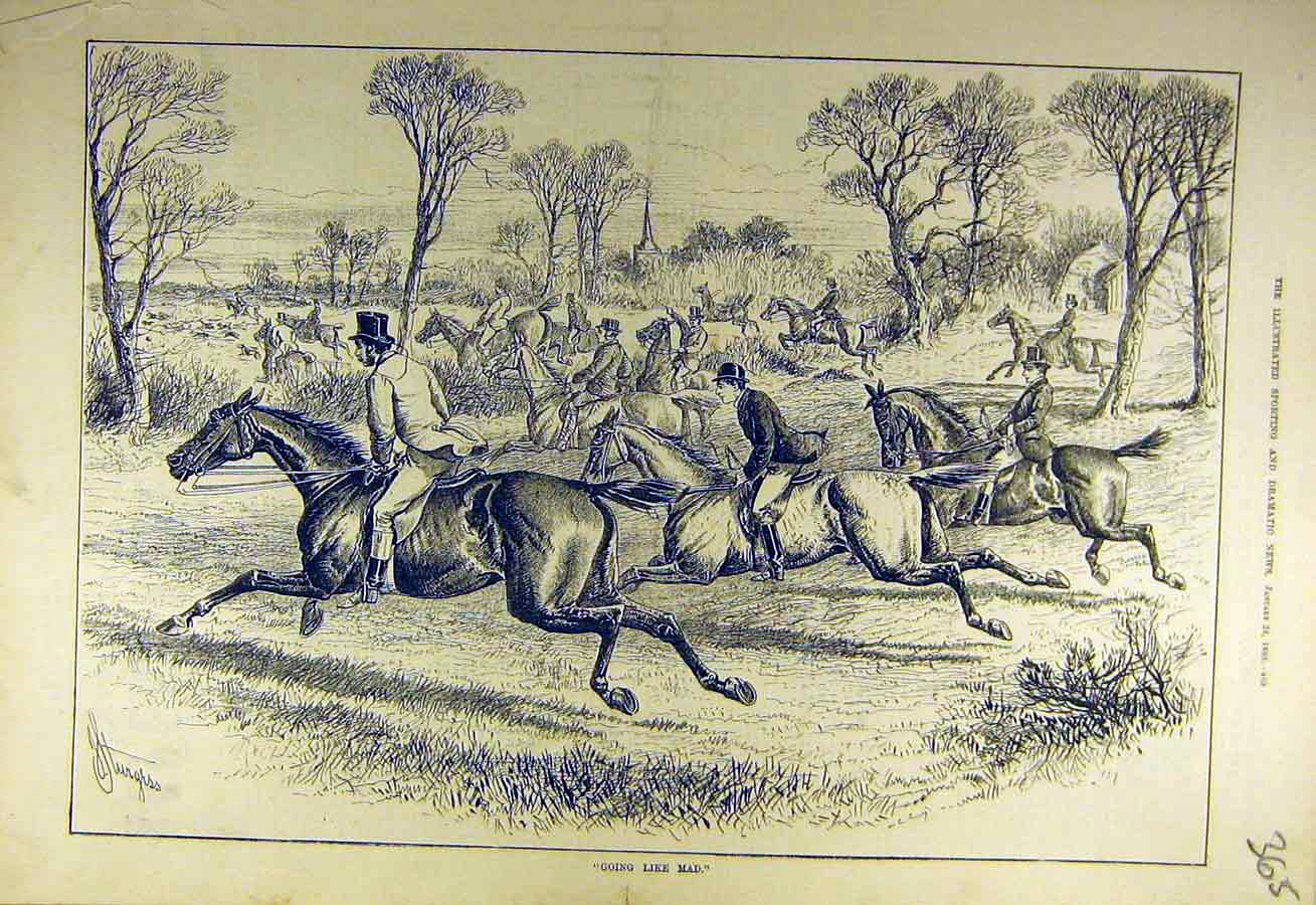 Print 1880 Hunters Gallop Hounds Hunting Sketch 658731 Old Original