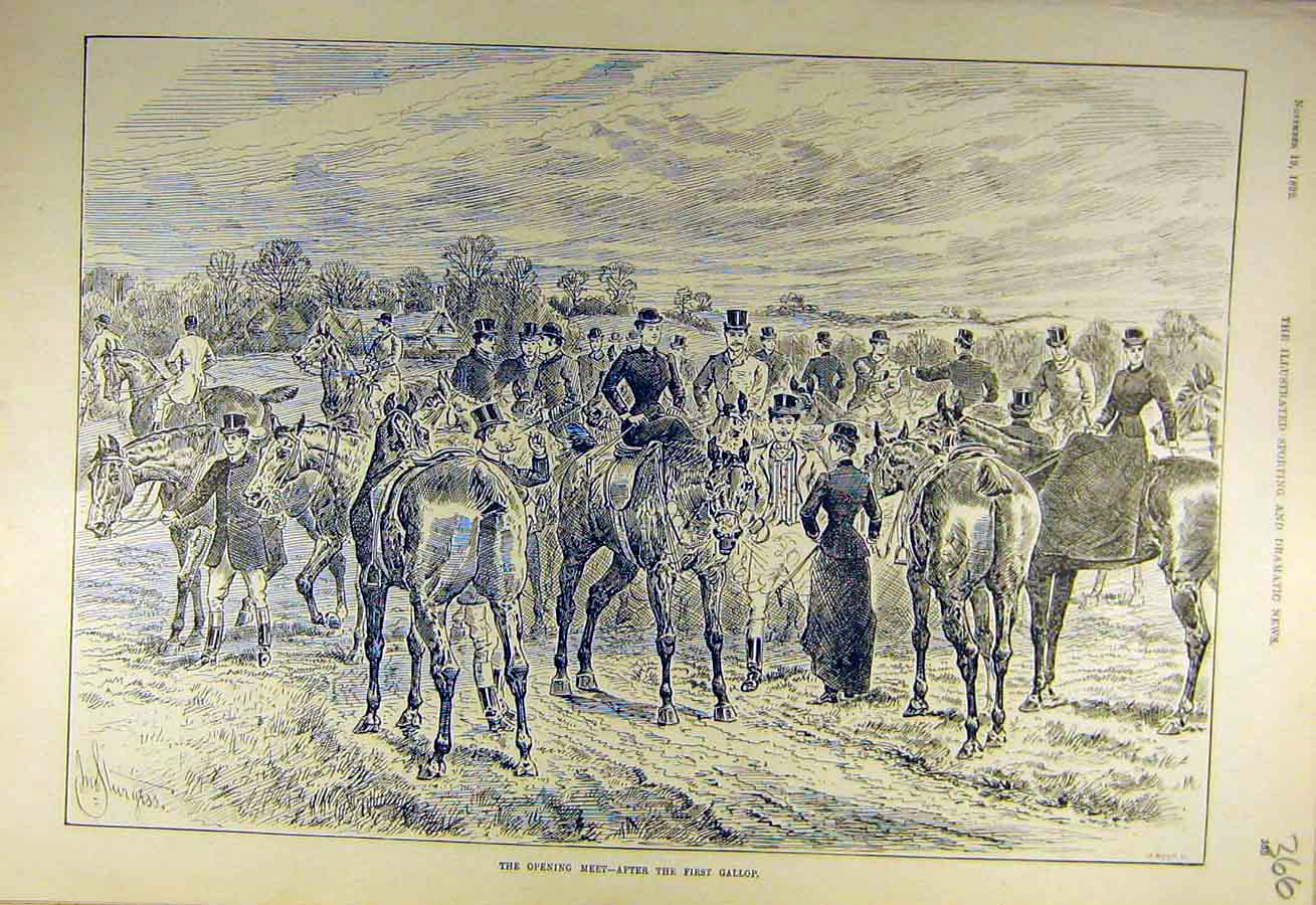 Print 1892 Opening-Meet First-Gallop Hunters Riders Hunt 668731 Old Original