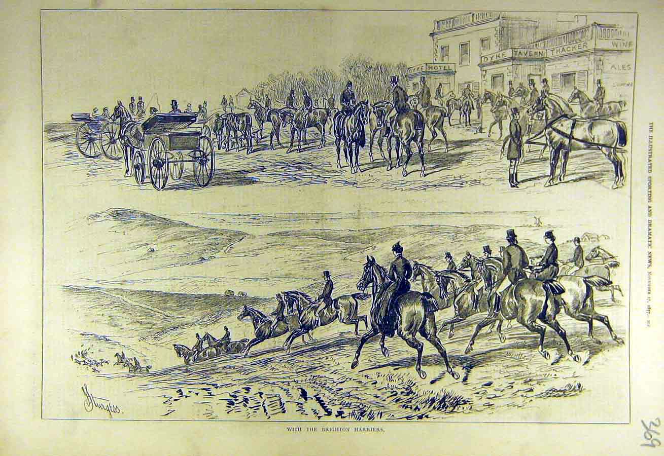 Print 1877 Brighton Harriers Hunt Hunters Riders 698731 Old Original