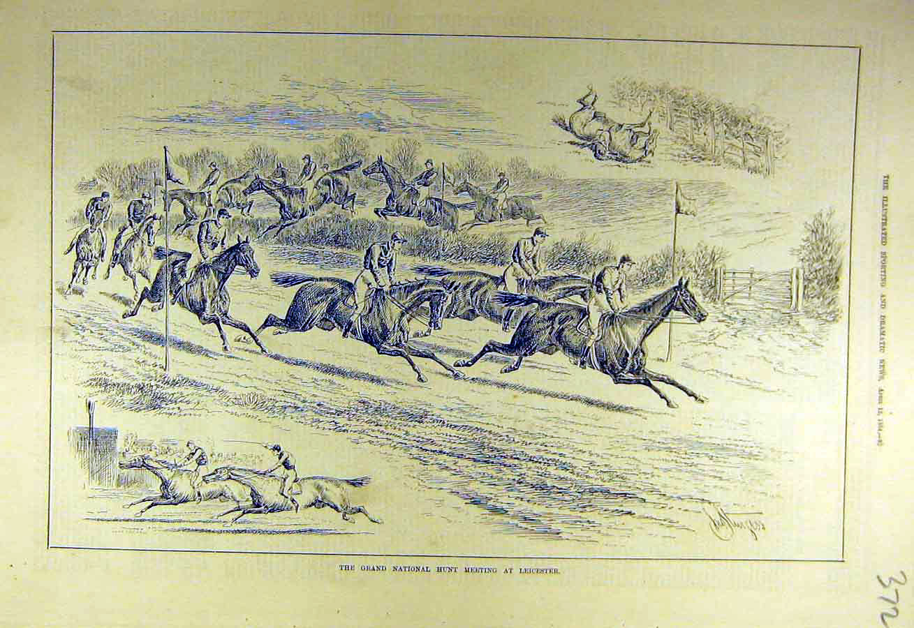 Print 1884 Grand-National Hunt Meet Leicester Riders Horses 728731 Old Original