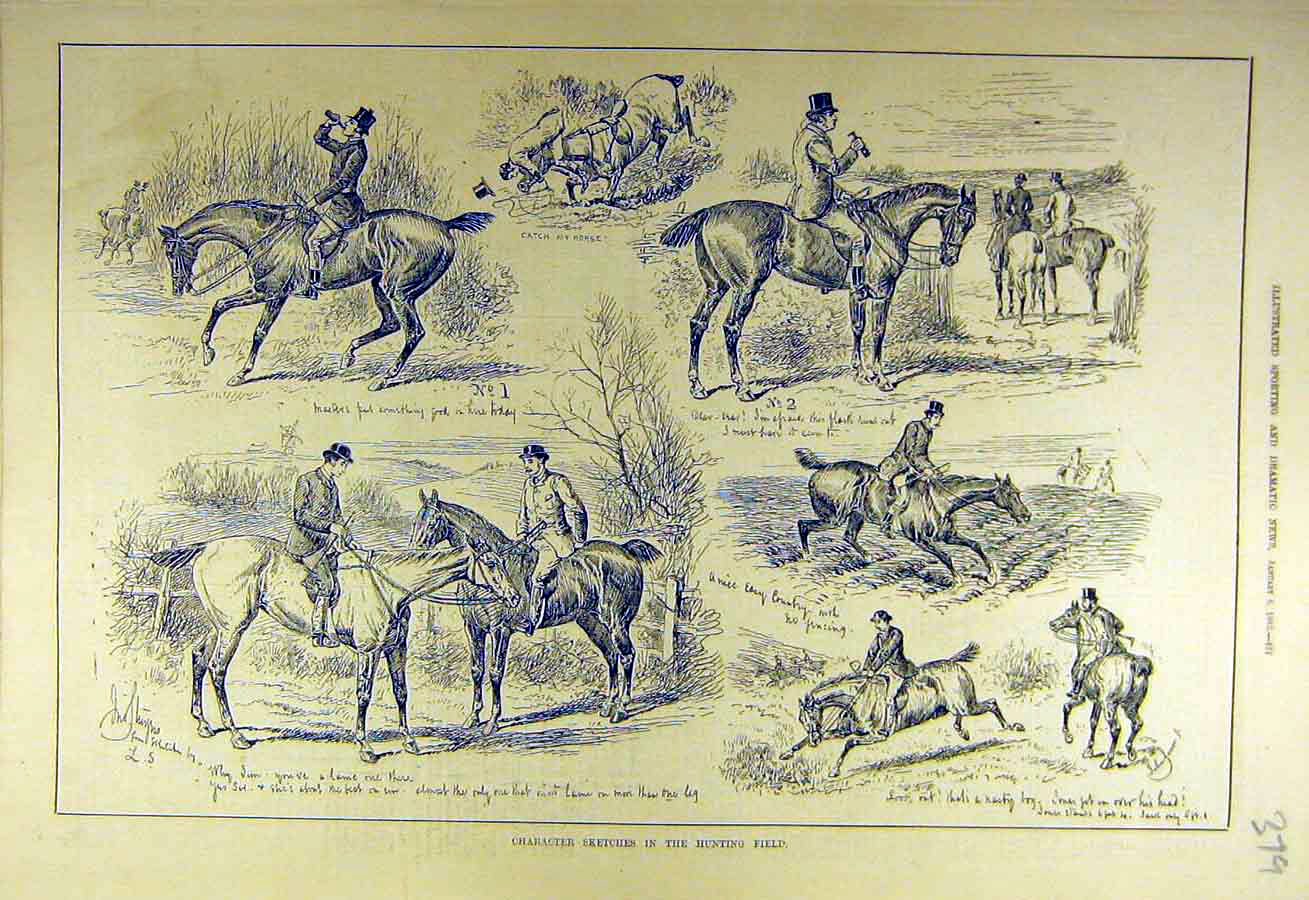 Print 1883 Character-Sketches Hunting Field Hunters Hunt 798731 Old Original
